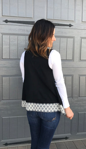 Black Open Knit Vest with Faux Fur Lining and Embroidered Trim