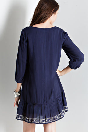 Navy Dress with Embroidery