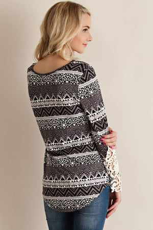 Aztec Print Jersey Tee With Crochet Lace on Sleeves