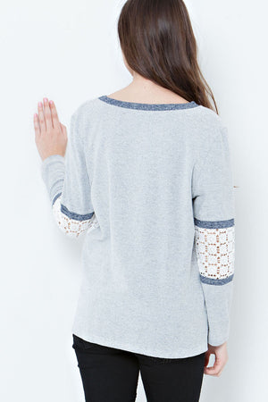 Solid French Top with Crochet Lace Details on Side and Sleeves