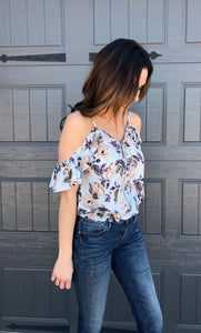Floral Print Smocked Open Shoulder Top