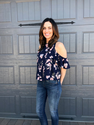 Floral Print Ruffle Open Shoulder Top