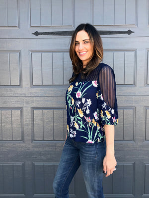 Floral Print Striped Lace Top