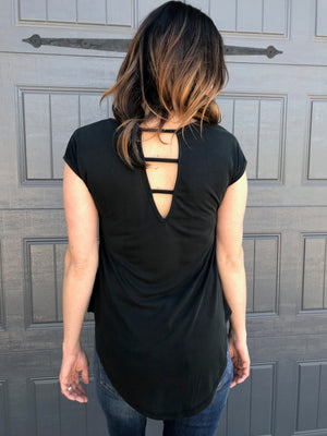 Cap Sleeve with a High Neck Low Hemline with Cutout Back