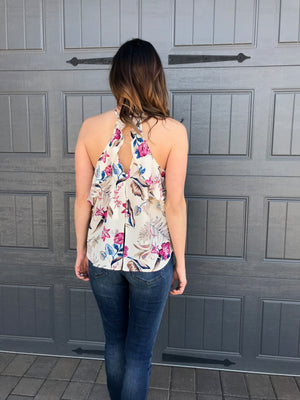 Lush Floral Cami with Back Ruffle Detail