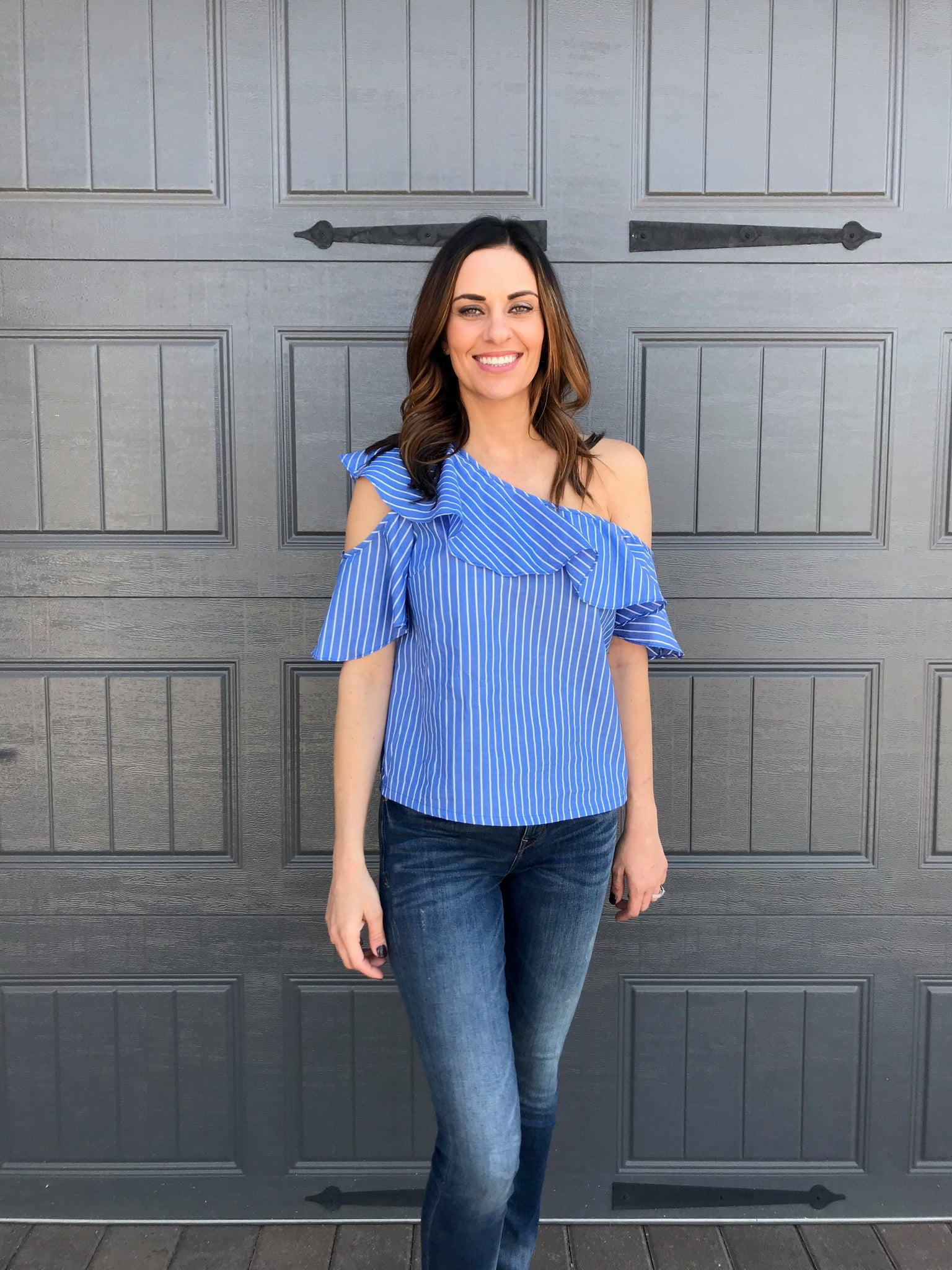 Lush Blue Striped One Shoulder Woven Top