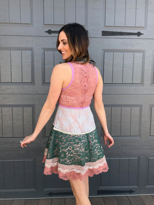 Multi Color Blush Lace Dress