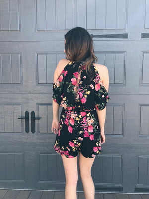 Lush Black Floral Cold Shoulder Romper