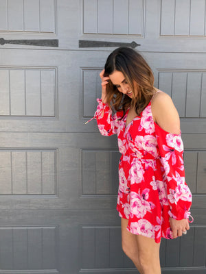 Beautiful Floral Cold Shoulder Dress
