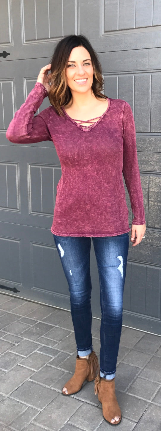 Solid Long Sleeve Relaxed Top