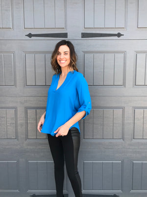 Deep Open V-Neck Woven Top with 3/4 Sleeves