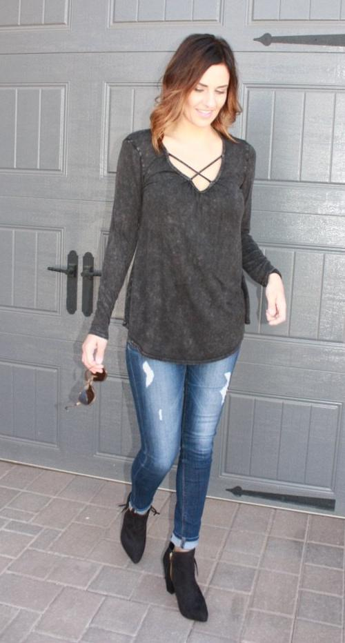 Solid Long Sleeve Top with Crossed Detailing