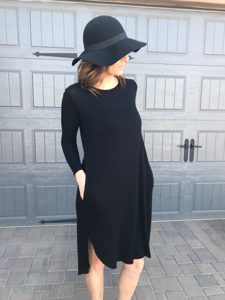 Long Sleeve Solid Knit Dress