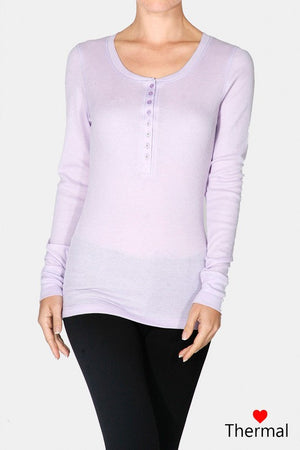 Long Sleeve Henley Thermal Top