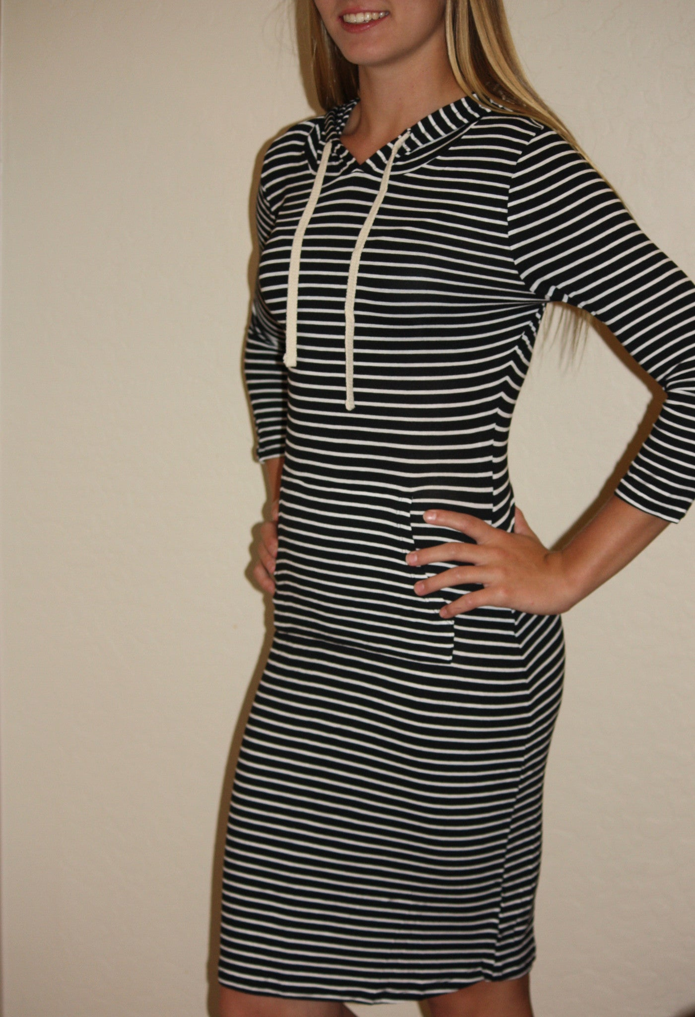 3/4 Sleeve Hooded Striped Rayon Spandex  Dress