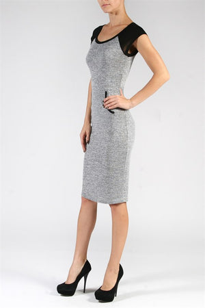 Raglan Two-tone Hacci Dress with Kangaroo Pockets