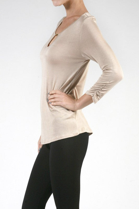 3/4 Ruched Sleeve Top with Metal Bar Detail