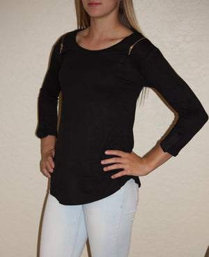 3/4 Roll Up Sleeve With Shoulder Zipper