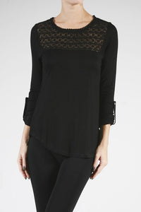 3/4 Roll Up Sleeve-Crochet Trimmed Top