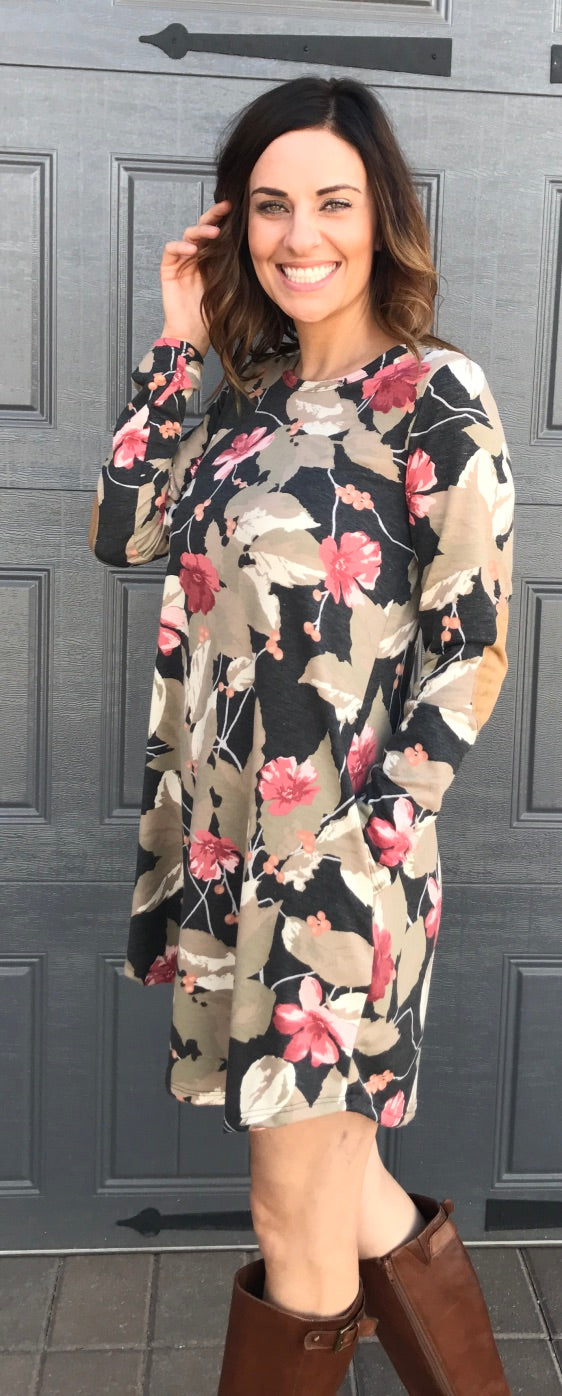 French Terry Botanical Print Dress with Side Pocket. Suede Elbow Patch