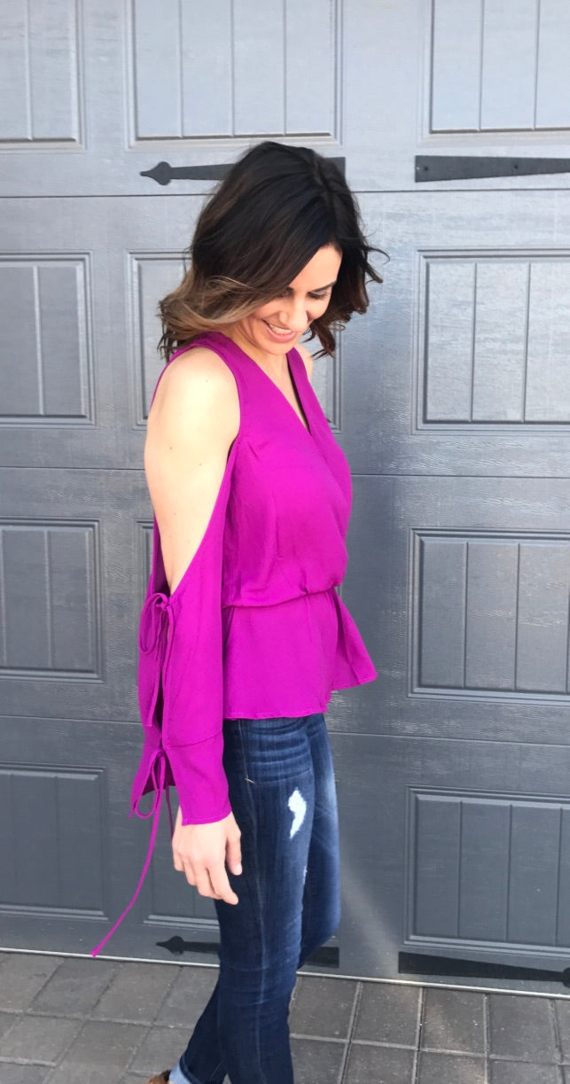 Violet Cold Shoulder Blouse