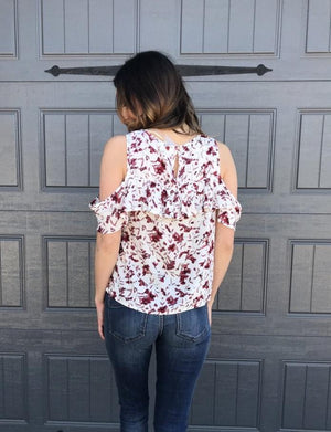 Floral Print Open Shoulder Ruffle Top