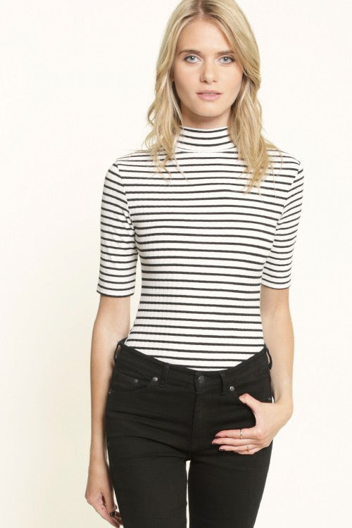 Mock Neck Elbow Sleeve Striped Ribbed Bodysuit