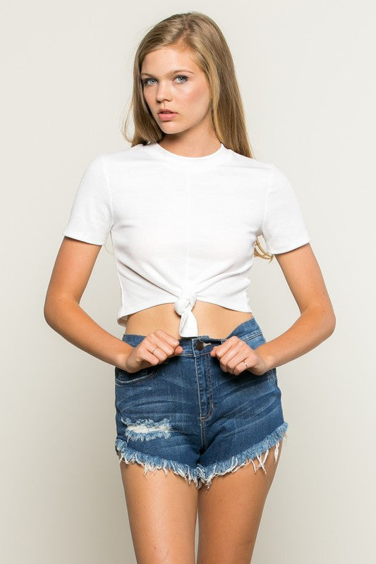 Ribbed Jersey Tie Front Short Sleeve