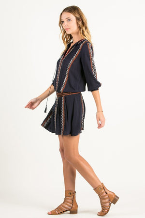 Rayon Gauze 3/4 Elastic Sleeve Bordered Embroidery Mini Dress