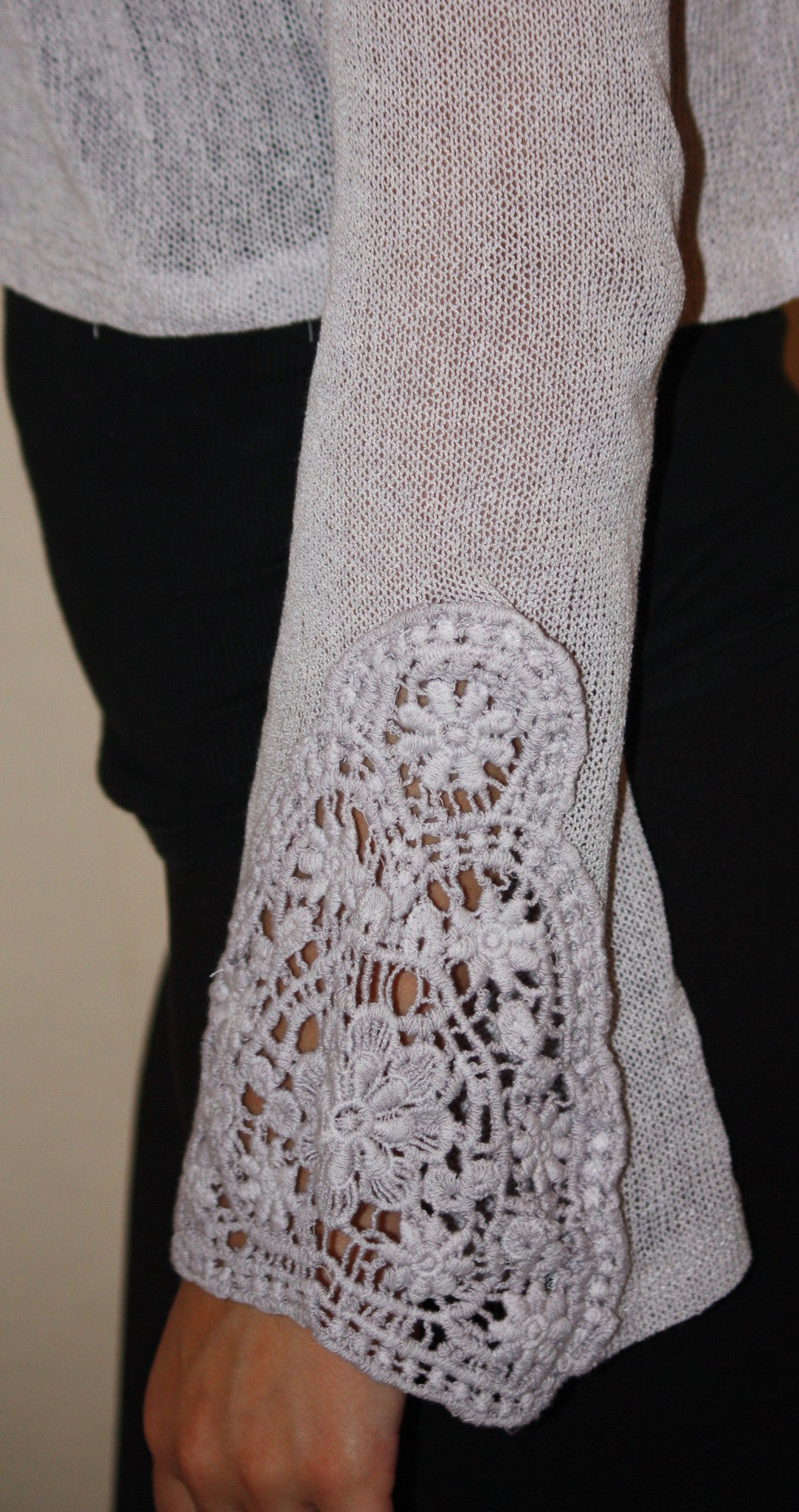 Knit Top with Lace Embroidery