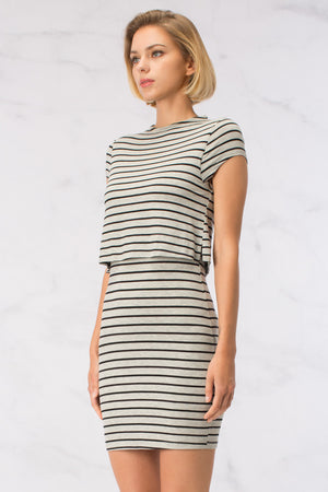 Striped Layer Dress with Pencil Skirt