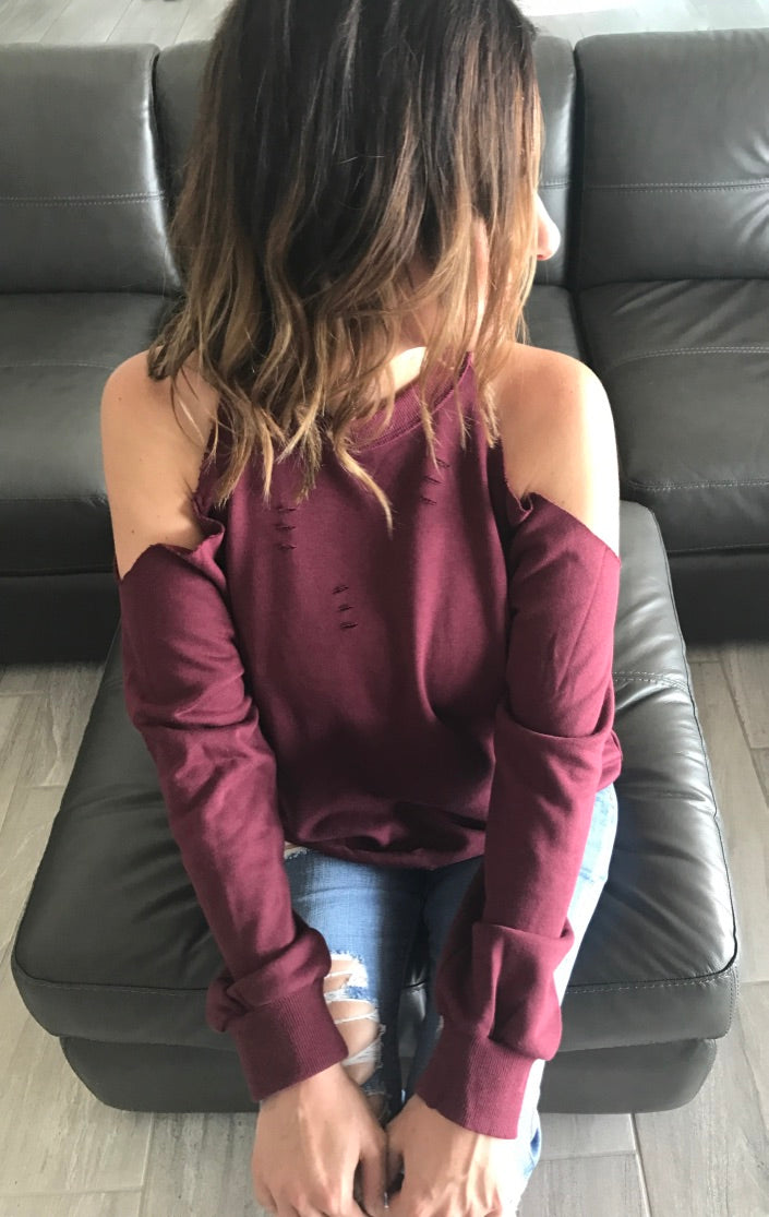 Distressed Cold Shoulder Sweatshirt