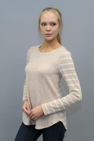 Crochet Elbow Stripe Sweater