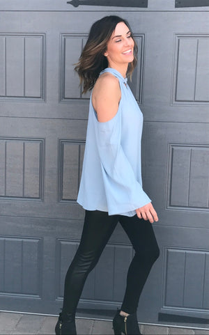 Cold Shoulder Long Sleeve Woven Top