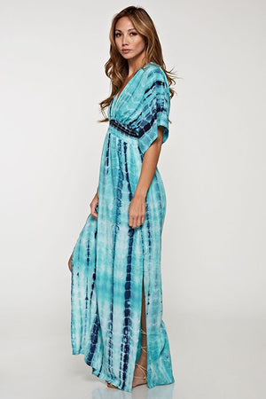 Tie Dye Smocked Waist Maxi Dress