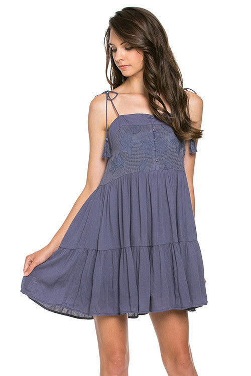 Tied Shoulder Tiered Dress