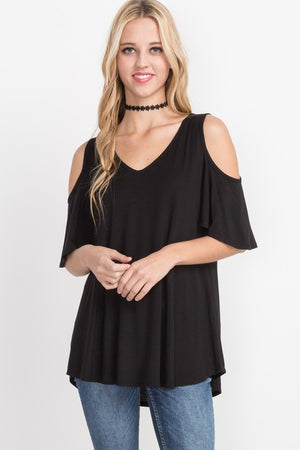 V-Neck Cold Shoulder Top