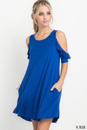Ruffled Open Shoulder Dress with Pockets