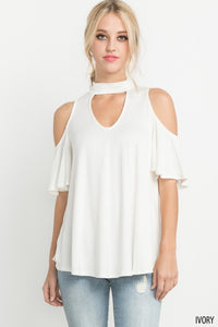 Cut Out Front with Open Shoulder Top
