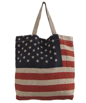 Patriotic American Flag Print Fashion Burlap Handbag
