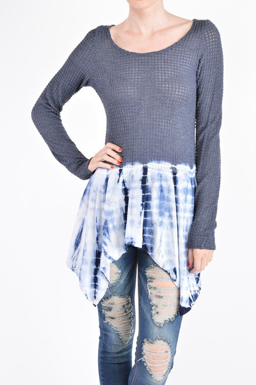 Tie Dye Pointed Hem Top