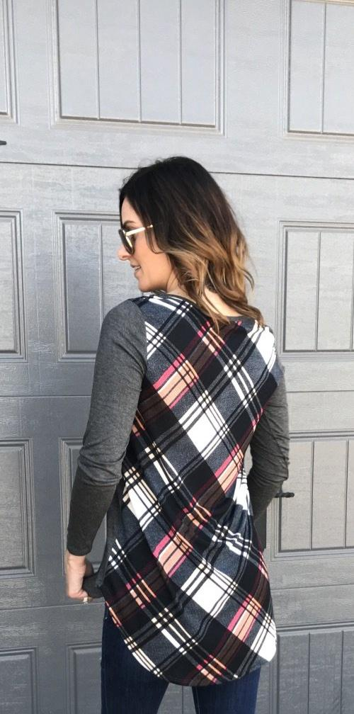 Long Sleeve Solid Top with Black Plaid Contrast