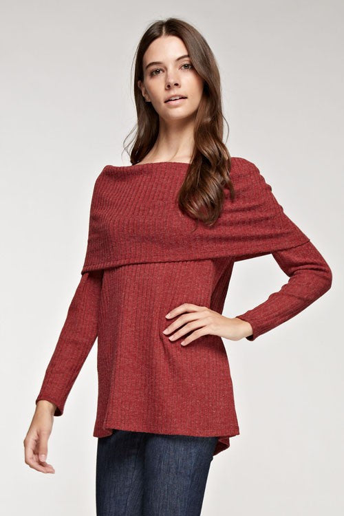 Off Shoulder Ribbed Sweater