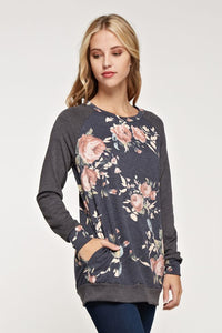 French Terry Floral Print Tunic with Side Pocket and Elbow Patch