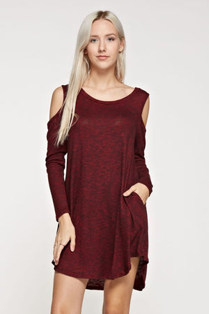 Cold Shoulder Dress with Side Pockets