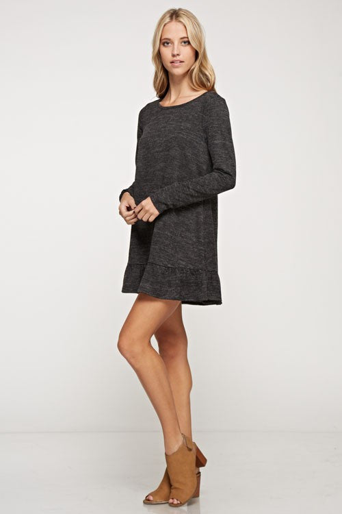 Long Sleeve Knit Mini Dress with Ruffle Bottom Hem