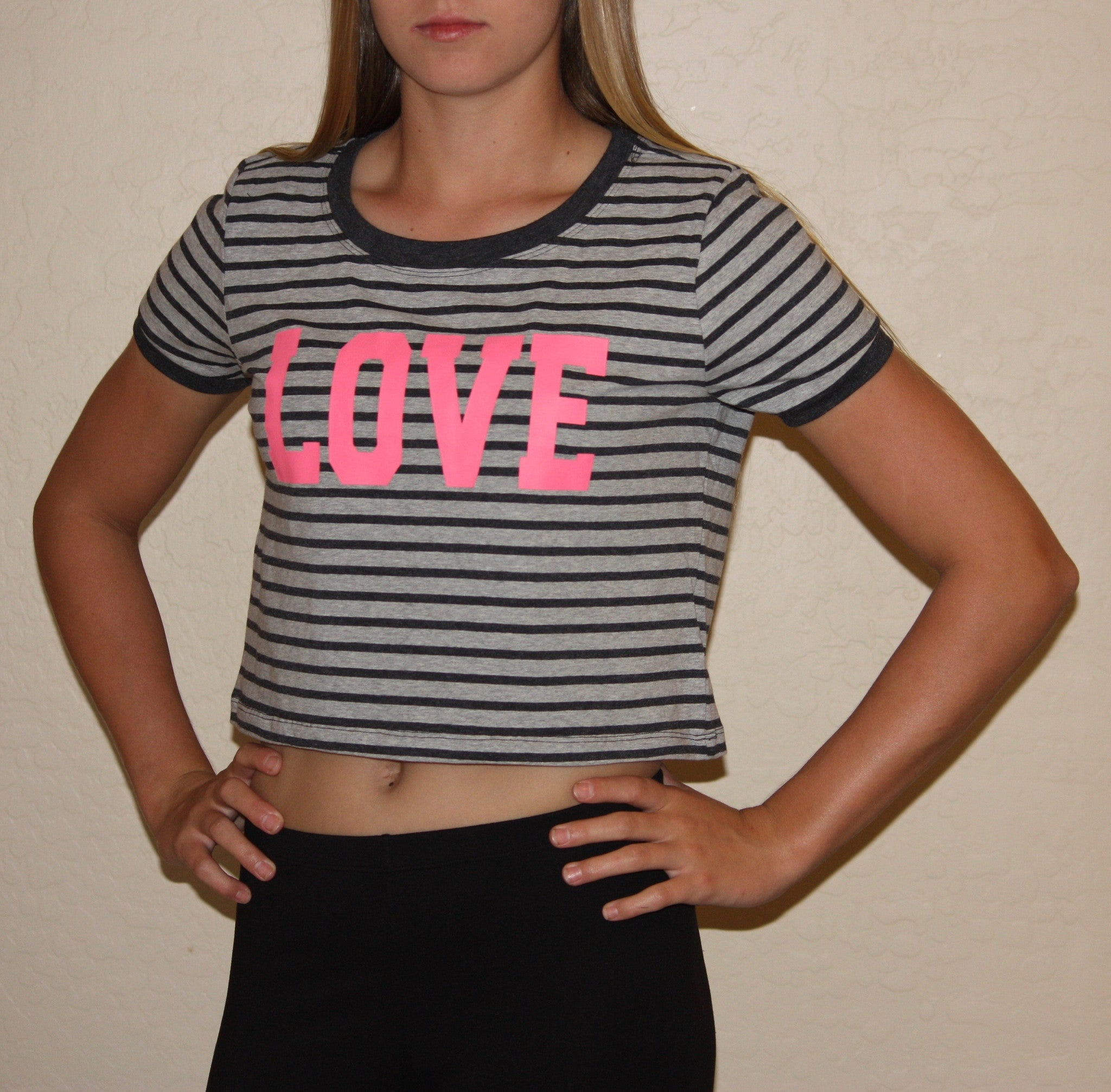 Love Graphic Short Sleeve Striped Crop Tee