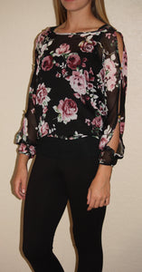 Chiffon Floral Print-Open Shoulder Top