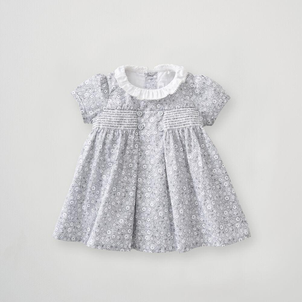 Girls Floral Smock Button Dress 0-3 Months