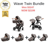 Wave Sable Twin Bundle with two carrycots and two seats